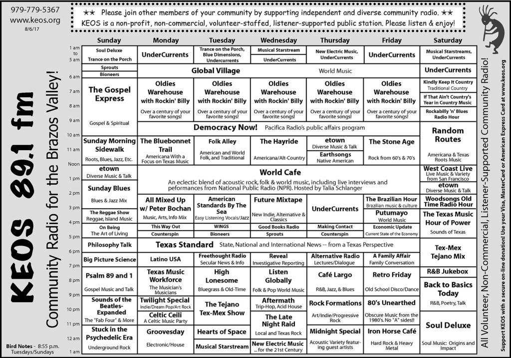 The KEOS Community Radio Weekly Schedule